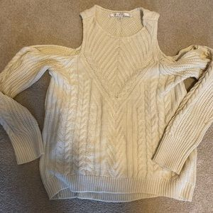 Cream cold shoulder sweater XL
